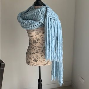 Baby blue long wool scarf